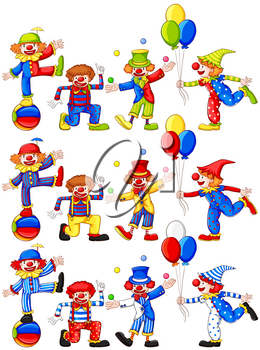 Clown doing different actions illustration