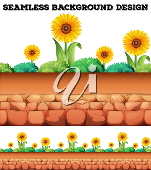 Seamless background with sunflowers  illustration