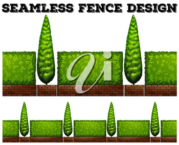 Seamless fence with bushes illustration