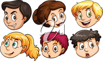 Different facial expressions on a white background