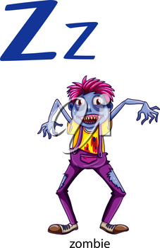 Letter Z for zombie on a white background