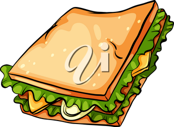 One delicious sandwich with lettuce on a white background