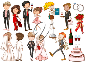 Men and women at the party illustration