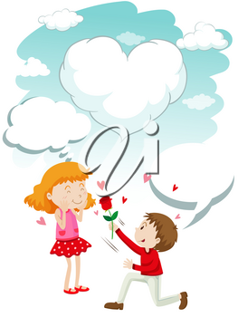 Boy giving rose to girl illustration