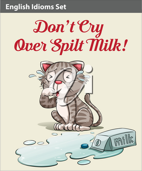 Don't cry over spilt milk idiom showing a crying cat