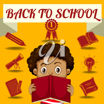 Boy reading book and other school symbols illustration
