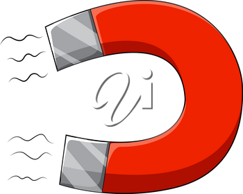 U-shaped magnet with two poles illustration