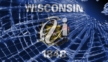 Isolated broken glass or ice with a flag, Wisconsin