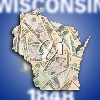 Map of Wisconsin, filled with US dollars