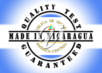 Quality test guaranteed stamp with a national flag inside, Nicaragua