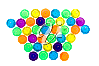 Set of colorful push pins isolated on a white background