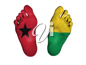 Feet with flag, sleeping or death concept, flag of Guinea-Bissau