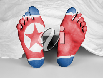 Dead body under a white sheet, flag of North Korea