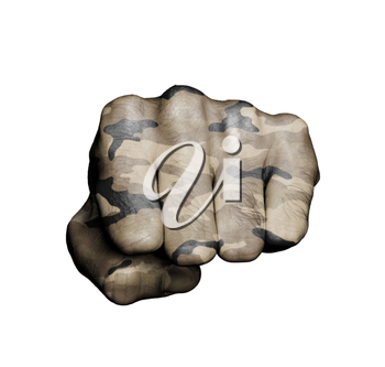 Front view of a punching fist, camouflage
