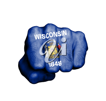 United states, fist with the flag of a state, Wisconsin