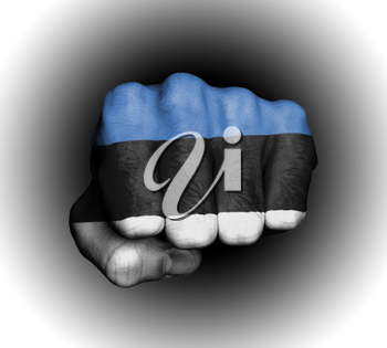 Fist of a man punching, flag of Estonia