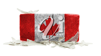 Brick with broken glass, violence concept, flag of Canada