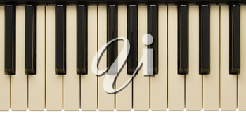 Old slightly yelow piano keyboard isolated on white