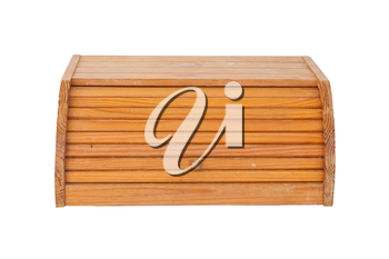 Old used dirty wooden bread box isolated