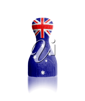 Wooden pawn with a painting of a flag, Australia