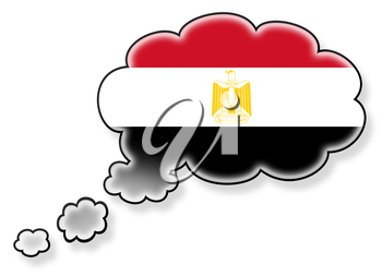 Flag in the cloud, isolated on white background, flag of Egypt