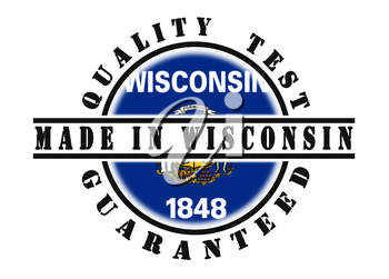 Quality test guaranteed stamp with a state flag inside, Wisconsin