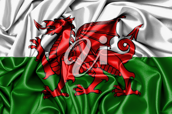 Satin flag, printed with the flag of Wales