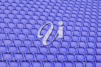 Blue seat in sport stadium, empty seats ready for the public