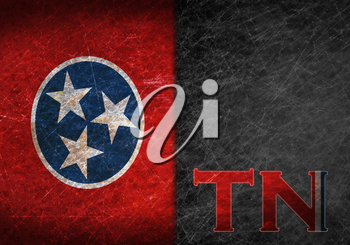 Old rusty metal sign with a flag and state abbreviation - Tennessee