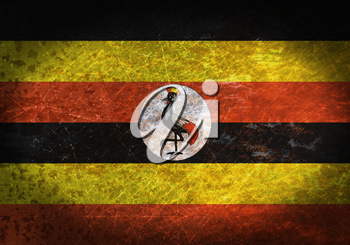 Old rusty metal sign with a flag - Uganda