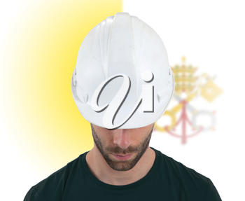 Isolated engineer with flag on background - Vatican