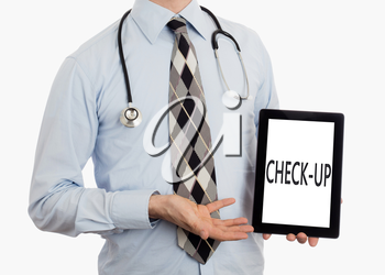 Doctor, isolated on white backgroun,  holding digital tablet - Check-up