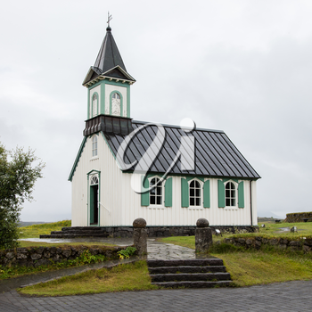 White Church in Thingvellir National park - famous area in Iceland, Iceland