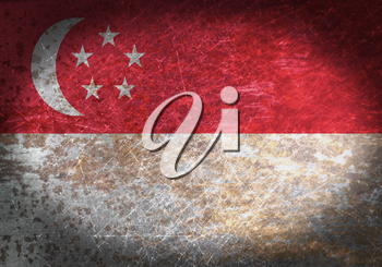 Old rusty metal sign with a flag - Singapore