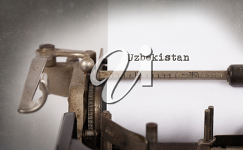Inscription made by vintage typewriter, country, Uzbekistan