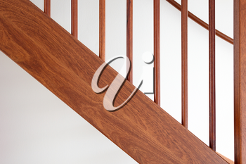 Wooden stairs in a dutch house, selective focus
