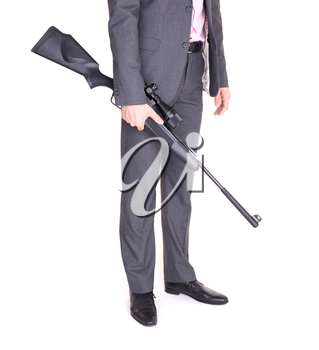 Man in suit with gun, rifle, isolated on white