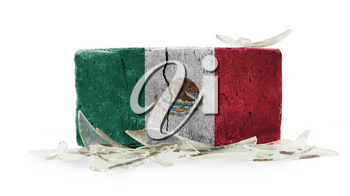 Brick with broken glass, violence concept, flag of Mexico
