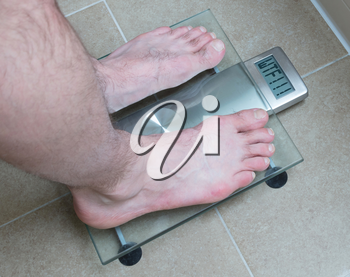 Closeup of man's feet on weight scale - WTF!!!