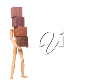 Wooden mannequin carrying wooden hardwood blocks, isolated on white