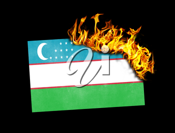 Flag burning - concept of war or crisis - Uzbekistan