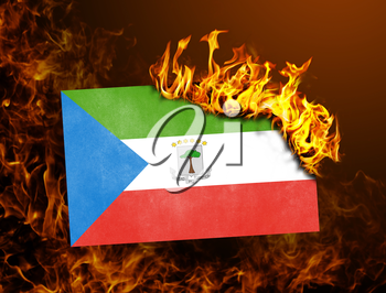 Flag burning - concept of war or crisis - Equatorial Guinea