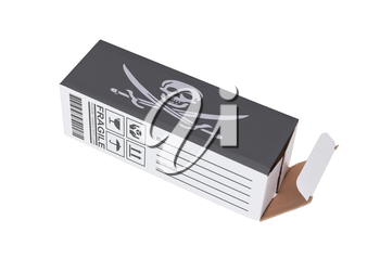 Concept of export, opened paper box - Illegal product
