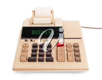Old calculator showing a text on display - business