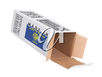 Concept of export, opened paper box - Product of Oregon