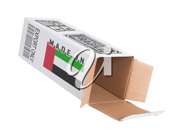 Concept of export, opened paper box - Product of the United Arab Emirates