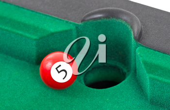 Red snooker ball is going to fall - number 5