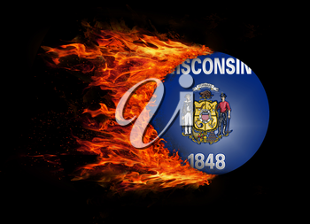 Concept of speed - US state flag with a trail of fire - Wisconsin