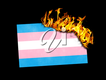 Flag burning - concept of war or crisis - Trans Pride