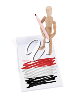 Wooden mannequin made a drawing of a flag - Yemen